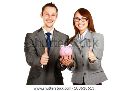 A businesswoman and man holding a piggy bank and showing ok isolated on white background
