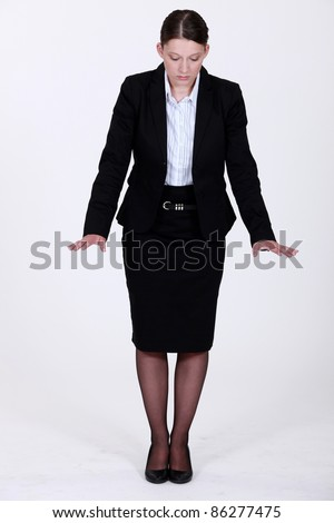 A businesswoman gesturing.