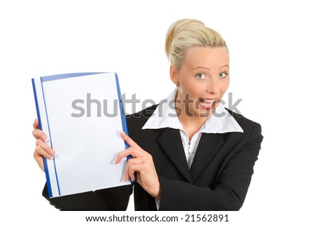 a businesswoman happy, holding a folder in her hands, place for your own text