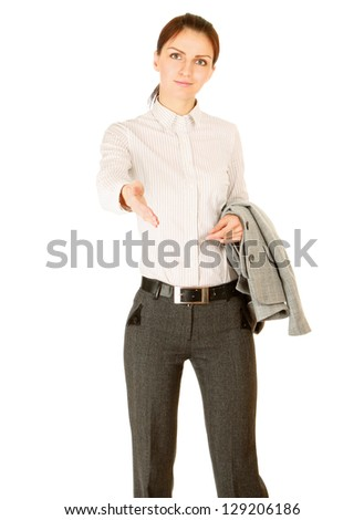 A businesswoman offering a handshake, isolated on white background
