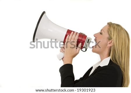 A businesswoman shouting at the world through a megaphone
