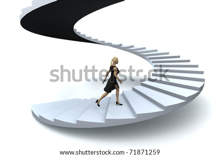 people walking up stairs. stock photo : A businesswoman walking upstairs the success staircase.
