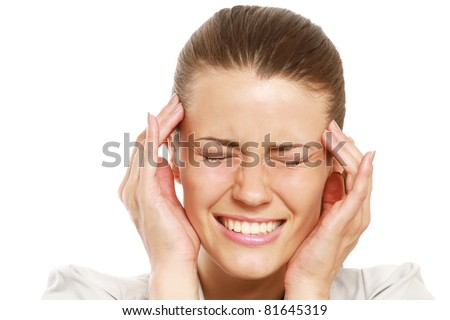 A businesswoman with a headache holding head, isolated on white background - stock photo