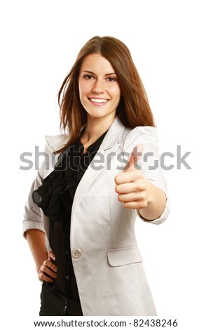 A businesswoman with thumb up sign, isolated on white