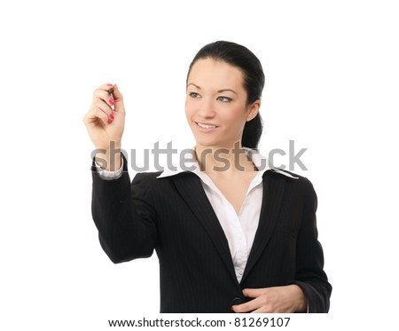 A businesswoman writing, isolated on white