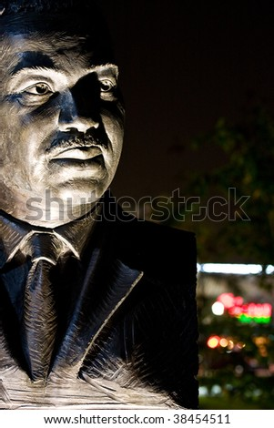 A bust of Martin Luther King Junior at night