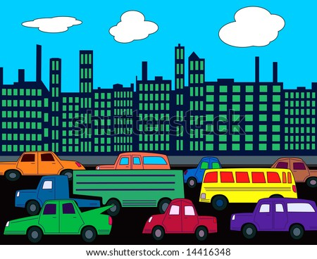 Busy City Clipart a Busy City Street With Cars