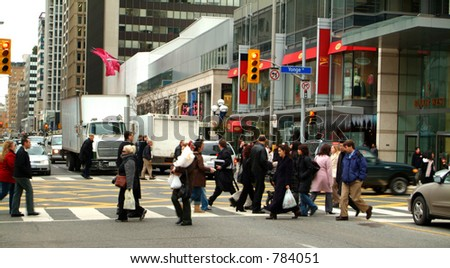 A busy downtown intersection.