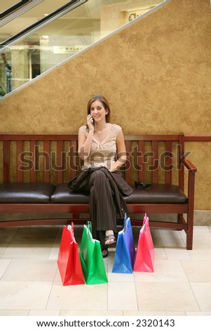 A busy woman taking a rest from shopping and talking on the phone