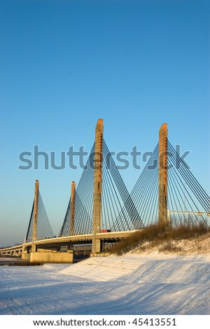 A cable bridge in Zaltbommel, the Netherlands during winter #45413551