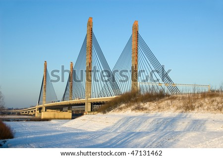 A cable bridge in Zaltbommel, the Netherlands during winter #47131462