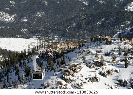A cable car above the scenic Squaw Valley in California