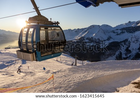 A cable car at the Crans-Montana ski resort in Switzerland in the sunset  Photo stock ©