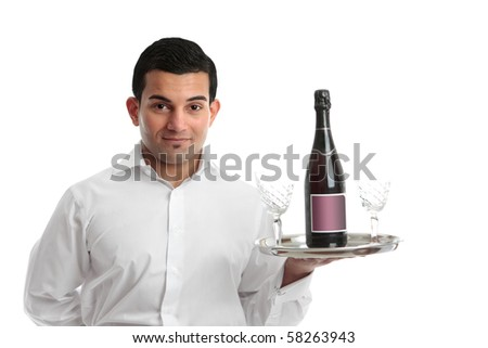 A cafe or restaurant waiter or barman carrying a tray with wine and glasses.  White background.