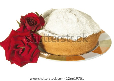 a cake with icing sugar on a white background