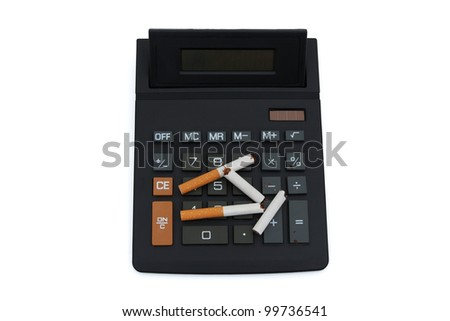 A calculator with a broken cigarettes isolated on white, Calculating the cost of smoking
