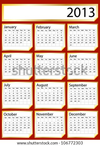 A 2013 calendar created with gold stickers. Space for text or Company name. Also available in vector format