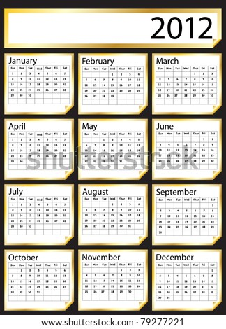 A 2012 calendar created with gold stickers. Space for text or Company name. Also available in vector format.