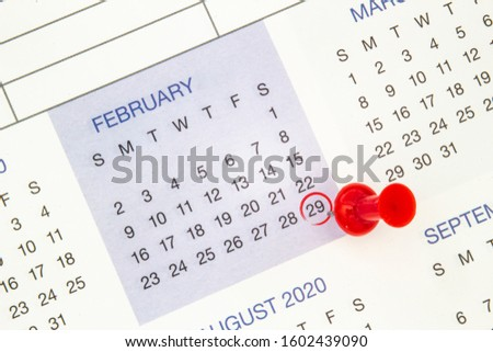 A calendar on February 29 on a leap year, leap day Сток-фото ©