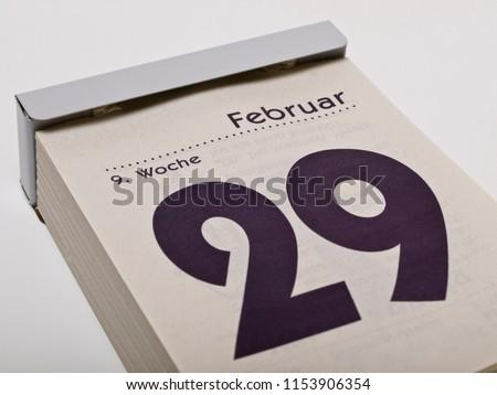 A calendar shows February 29th, leap day   #1153906354