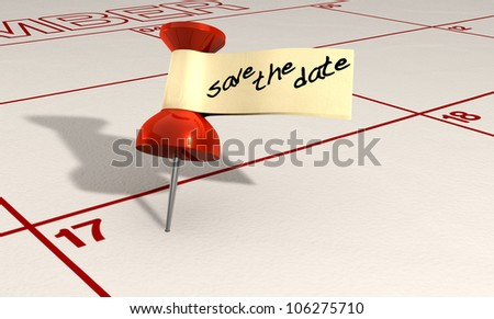 A calendar with an attached red thumbtack with a tape tag and the words save the date written in black marker