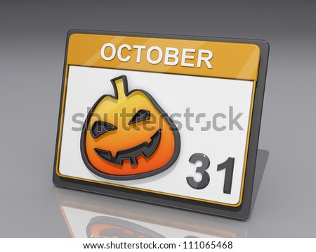 A Calendar with showing October 31 and a jack o lantern - stock photo