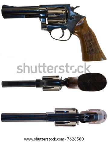 A .38 calibre revolver shot from the side, from above and from below. White background.
