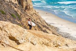 A California surfer dude headed for the ocean.