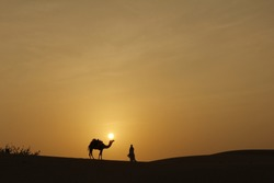 A camel & a people & desert of sunset
