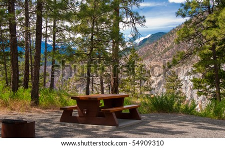 A campground site with gorgeous view at Thompson river canyon, Canada.