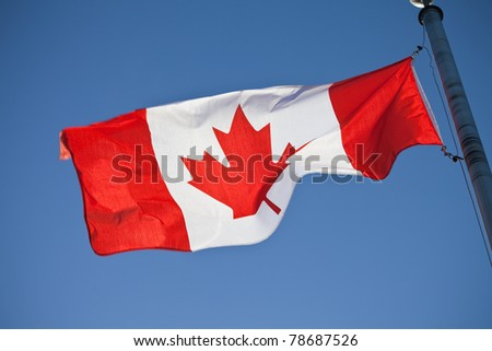 A canadian flag in the sunshine
