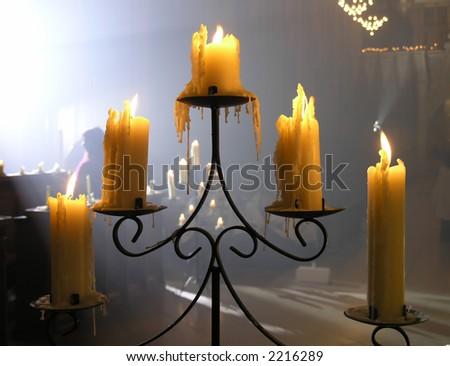 A candelabra  in a church