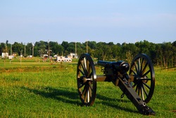 A cannon from the American Civil War appears to be aiming at an athletic field in Gettysburg, PA