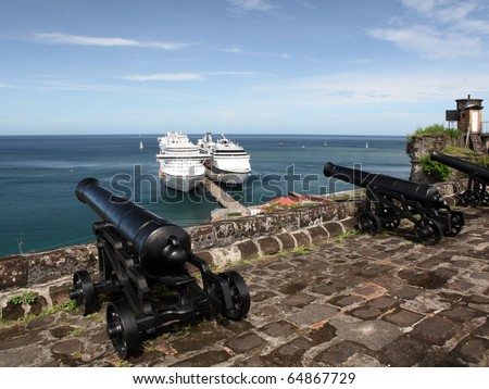 A cannon in the Fort Frederic fortress on the Grenada island