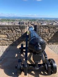 A canon at Edinburgh Castle in Scotland