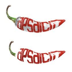 """A """"capsaicin"""" word shaped as a chili pepper"""