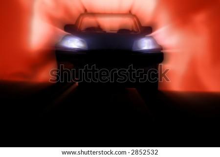 A car at night.