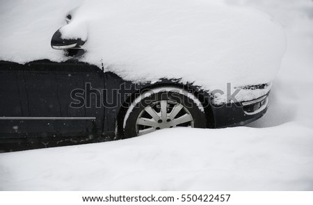 A car buried in snow after snowy weather Stok fotoğraf ©