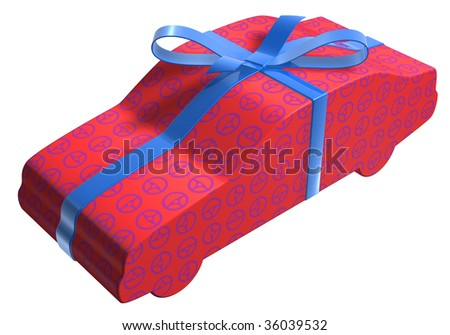 a car packaged as a gift surprise on a white base