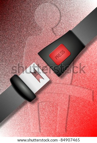A car safety belt and a symbol fasten your belt in the background / Safety belt