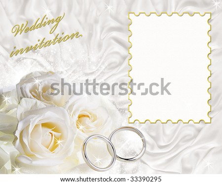 stock photo A card for a wedding invitation with a frame for sample text