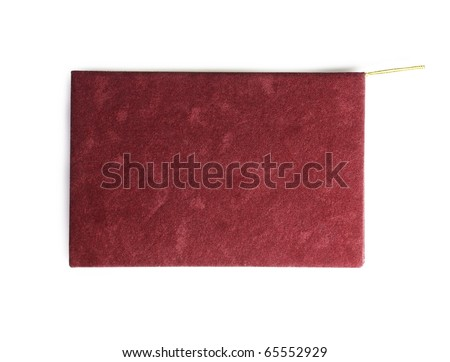 A card with blank wine red suede-like cover and gold string.  Isolated on white.