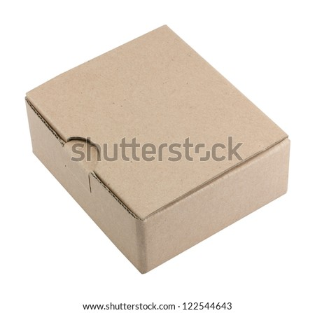 a cardboard box isolated on white background - stock photo