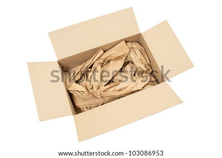 A cardboard box, open containing brown paper packaging material