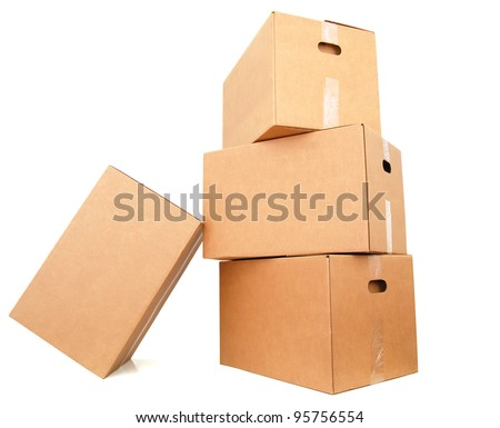 A cardboard boxes stacking
