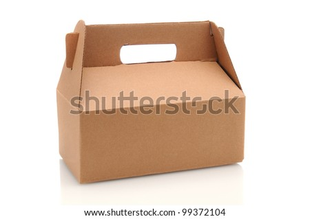 A Cardboard Carry our box with handle over a white background with reflection.