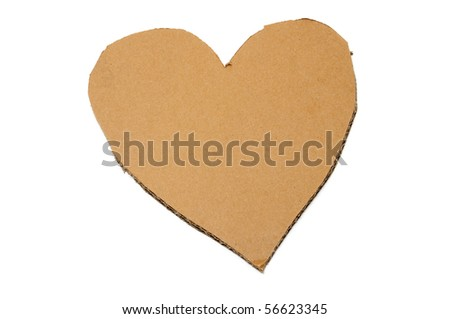 a cardboard heart isolated on a white background