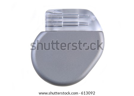A cardiac pacemaker (~ 8mm thin, volume 12cc, 26 grams, implantable) to help regulate abnormal heart rhythms. (12MP camera, isolated, macro)