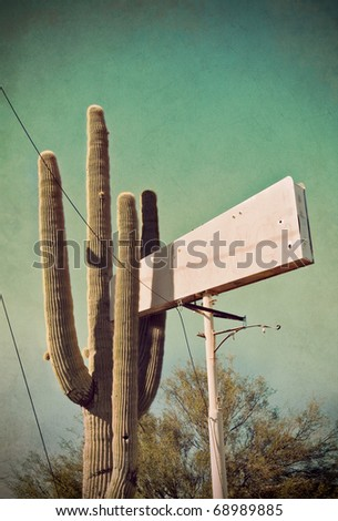 A cardon cactus growing into an old and run-down vintage sign, with cross-processed colors and a textured paper background.