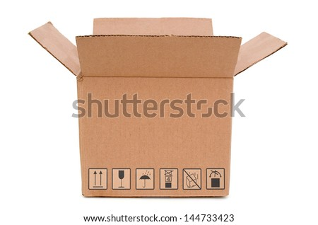 A carton box with signs